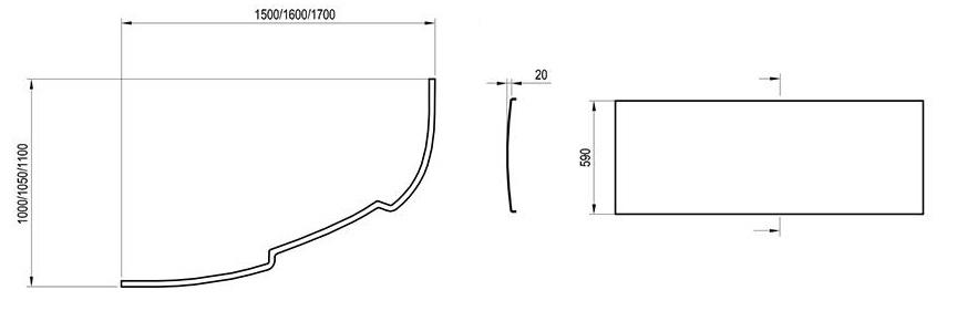 Schéma du tablier de la baignoire asymmetric de ravak