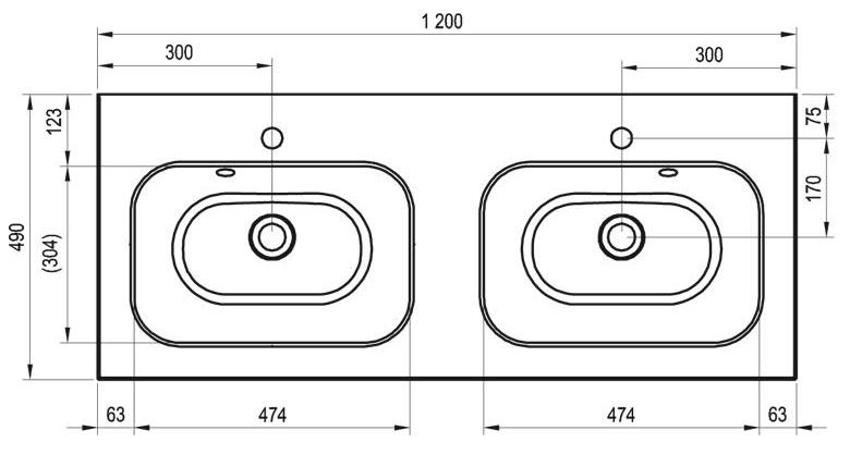 Schéma du lavabo double de RAVAK : 120cm x 49cm x 3cm