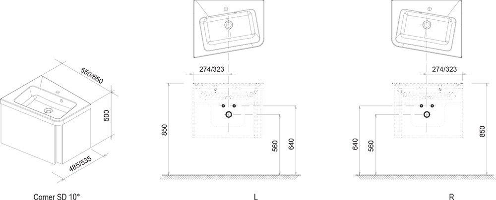 Dessin technique armoire lavabo d'angle 10°