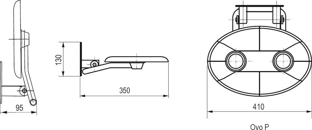 schéma siège de douche design ovo p ravak