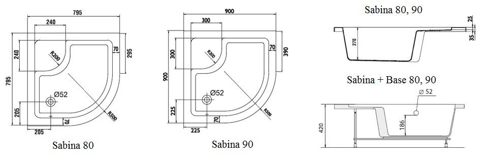 Schéma du receveur de douche pour bébé Sabina